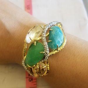 Alexis Bittar crystal and stone bangle bracelet